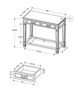 Monarch Specialties Length Sofa Console Table with 2-Drawer,