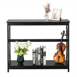 Sofa Side Console Table with Drawer and Storage Shelves Narr