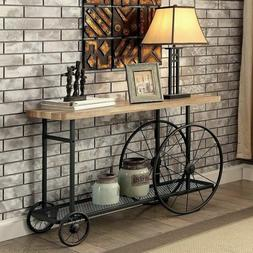 Sofa Table With Storage Shelf Industrial Southwestern Rustic