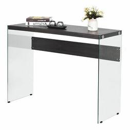 soho console table wooden top tempered glass