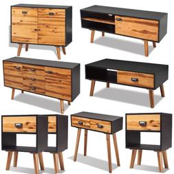 Solid Acacia Wood Bedside Cabinet Sideboard Coffee Console T
