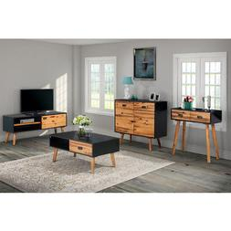 vidaXL Solid Acacia Wood TV Cabinet Black Brown Home Furnitu