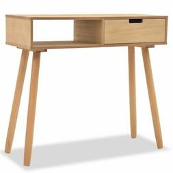 """vidaXL Solid Pinewood Console Table 31.5"""" Brown Telephone Si"""
