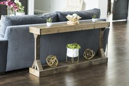 Solid Wood Console Table Entryway Sofa Display Shelves Moder