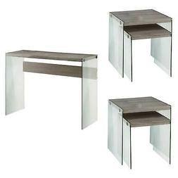 Monarch Specialties Tempered Glass Nesting End Tables & Glas