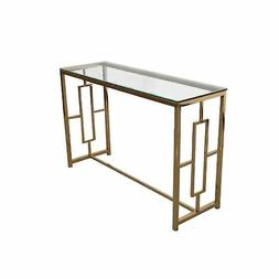 Sagebrook Home Stainless Steel & Glass Console Table, Gold,