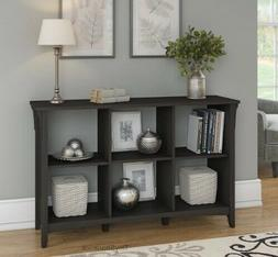 Storage Console Table Black Finish Cubby Bookcase Entry Hall