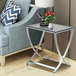 Yaheetech Glass Small End Side Table Living Room Coffee Sofa