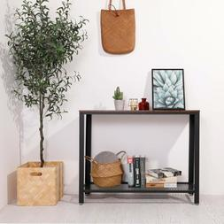 Table Industrial Rustic Console with Storage for Entryway Li