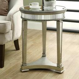 Table Mirrored Accent Round End Console 20-Inch Mirror Side