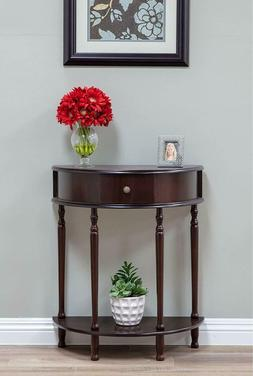 Traditional Classic Half Round Console Table Wooden With Sto