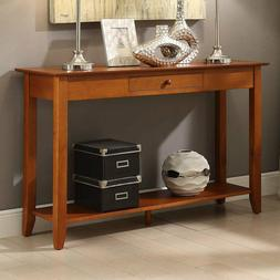 Traditional Solid Wood 1-Drawer Console Table Lamp Decor Sto