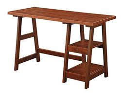 Trestle Writing Desk with 2 Shelves, Cherry