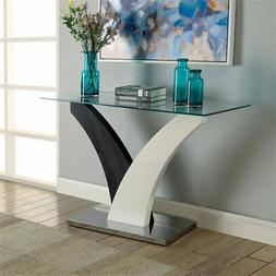 tri glass top console table in white