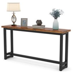 Tribesign Long Skinny Console Table Simple Brown Wooden Entr