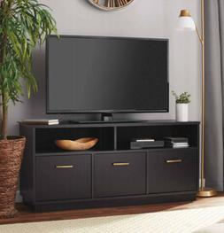 TV STAND MEDIA CONSOLE TABLE Black Cabinet Open Shelf Storag