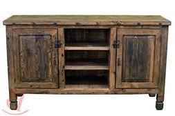 Two Door Natural TV Stand Real Wood Western Rustic Console E