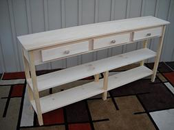 """Unfinished 60"""" Sofa Console Shaker Style Edge Pine Table w/S"""