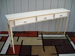 "Unfinished 60"" Sofa Console Shaker Style Edge Pine Table w/d"
