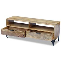 Daonanba Unique TV Stand Solid Mango Wood Stable TV storage