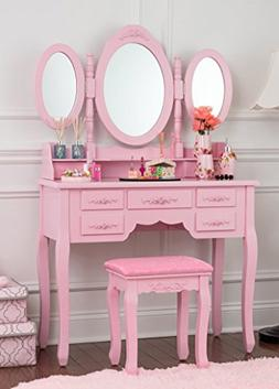 Fineboard Vanity Set with Stool Makeup Table with Seven Orga