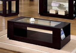 Monarch Specialties Venner with glass insert Coffee Table, C