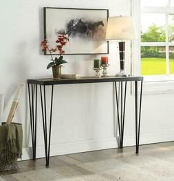 Vintage Brown Black Metal Frame Entryway Console Sofa Table