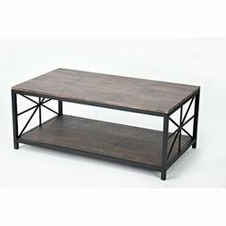 Vintage Dark Brown Black Metal Frame Cocktail Coffee Table w