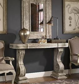 VINTAGE RESTORATION CONSOLE SOFA TABLE AGED GRAY STONE FINIS