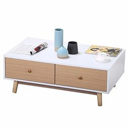 Topeakmart Contemporary Coffee Table With 2 White Drawers So