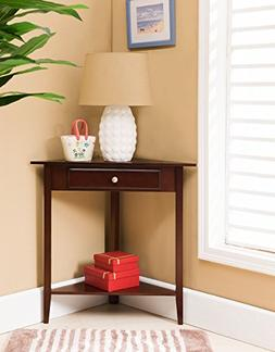 Kings Brand Walnut Finish Wood Corner Sofa Accent Table with