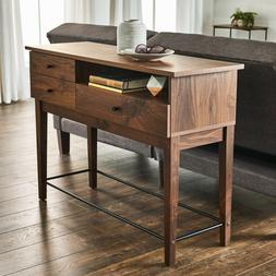 Walnut Wood Console Couch Sofa Table With Storage Drawers Me
