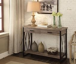 Weathered Grey Reclaimed Look Console Sofa Table X-Design wi