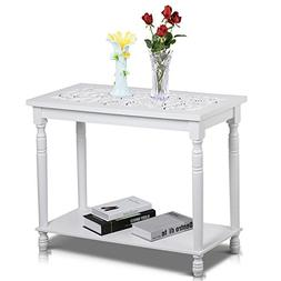 Topeakmart White Antique Console Tables with Carved Top/Leg