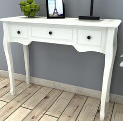 SKB Family White Dressing Console Table with Three Drawers W
