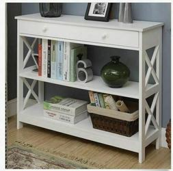 White Entryway Table Storage Console Furniture Accent Wooden