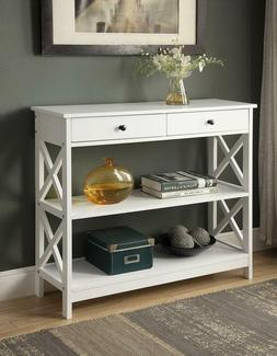 White Finish 3-tier Console Sofa Entry Table with Shelf / Tw