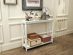 White Finish 3-Tier X-Design Occasional Console Sofa Table B