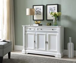 Kings Brand Furniture White Finish Wood Buffet Breakfront Ca