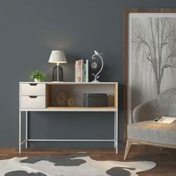 White / Natural Finish Sofa Console Buffet Sideboard Display