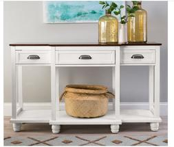 White Solid Wood Console Table Sofa Drawers Storage Walnut B