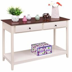 White Wood Console Hallway Side Table Drawer Shelf Kitchen D