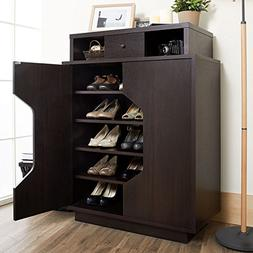 Whitley Cappuccino Finish Console Table Storage Shoe Cabinet