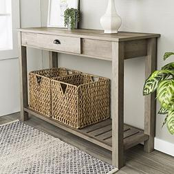 New 48 Inch Wide Country Style Sofa Table in Gray Wash Finis