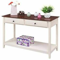 White Wood 2-Drawer Console Sofa Table with Walnut Finish To
