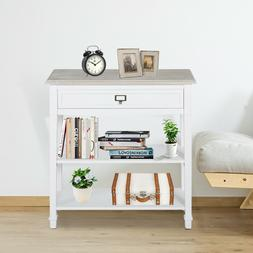 Wood 3-Tier Console Table w/ Drawer and Storage Shelf Accent
