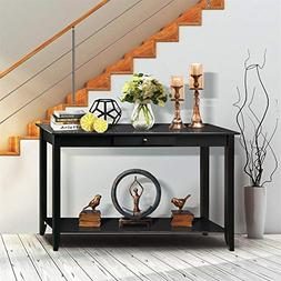 Yaheetech Wood Console Table with Drawer and Shelf 2 Tier Bl