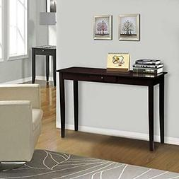 Wood Console Table Hall With One Drawer Espresso