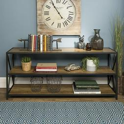 WE Furniture Wood Console Table Rustic Oak Power Coated Meta
