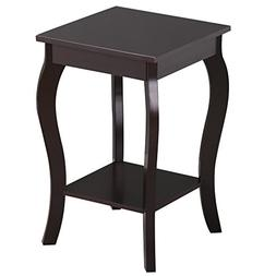 Topeakmart Wood Curved Legs Square Accent Side End Table wit